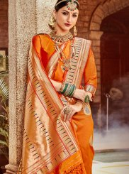 Orange Ceremonial Art Silk Traditional Saree