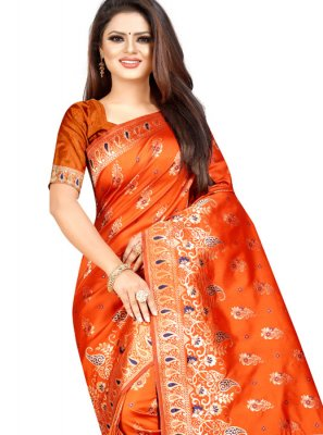 Orange Ceremonial Cotton Silk Designer Traditional Saree