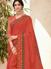 Orange Ceremonial Faux Chiffon Trendy Saree
