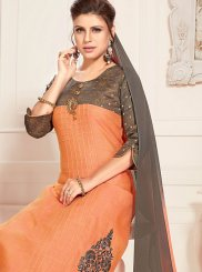 Orange Ceremonial Raw Silk Readymade Suit