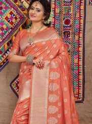 Orange Ceremonial Traditional Designer Saree