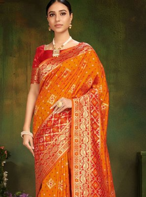 Orange Ceremonial Traditional Saree