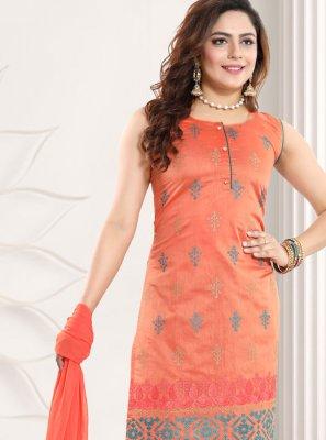 Orange Chanderi A Line Lehenga Choli