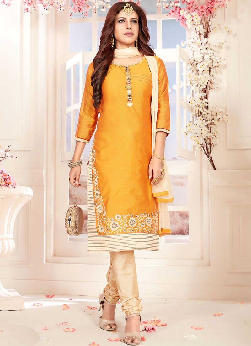 Orange Chanderi Ceremonial Readymade Suit