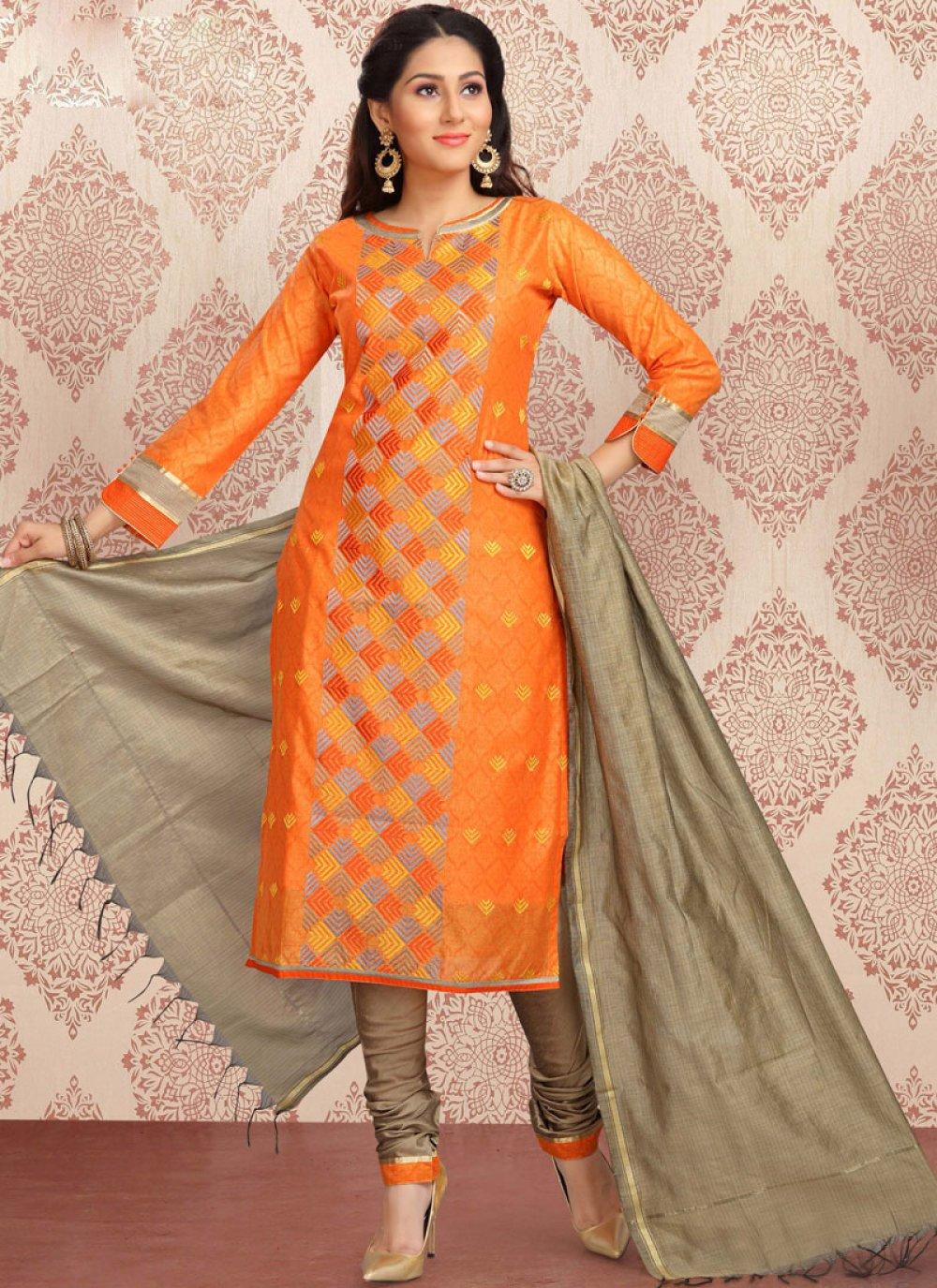 Orange Chanderi Churidar Designer Suit