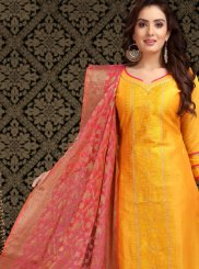 Orange Chanderi Embroidered Churidar Designer Suit
