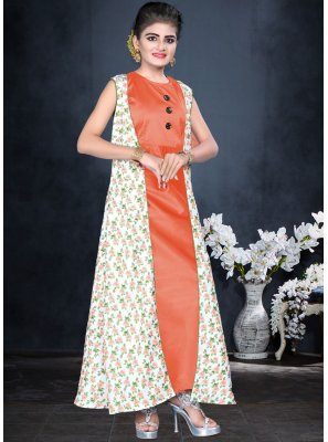 Orange Color Designer Partywear Gown For Kids