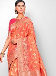 Orange Color Designer Traditional Saree
