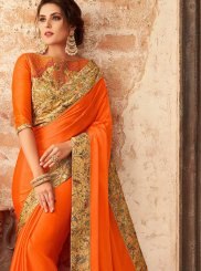 Orange Color Trendy Saree