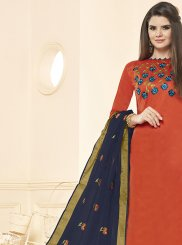 Orange Cotton Casual Salwar Suit