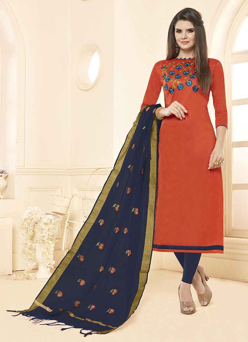 Orange Cotton Casual Salwar Suit