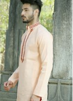 Orange Cotton Mehndi Kurta Pyjama