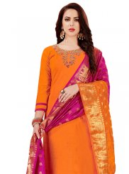 Orange Cotton   Party Churidar Designer Suit
