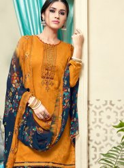 Orange Cotton Print Punjabi Suit