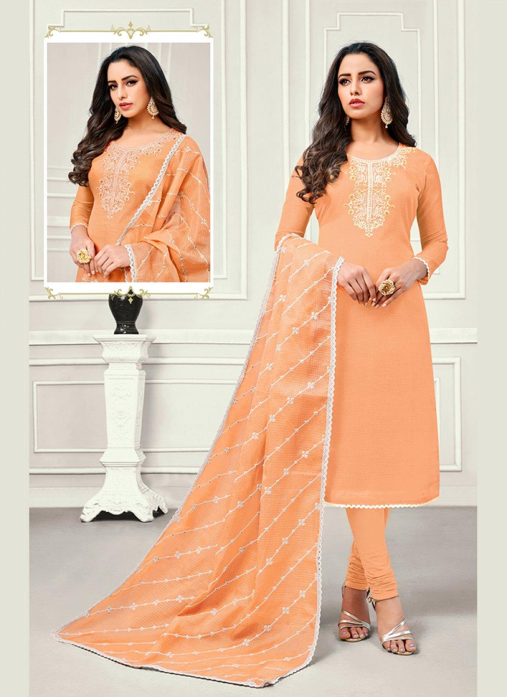 Orange Cotton Satin Party Designer Salwar Kameez