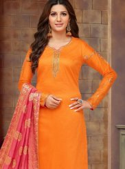 Orange Cotton Silk Casual Churidar Designer Suit