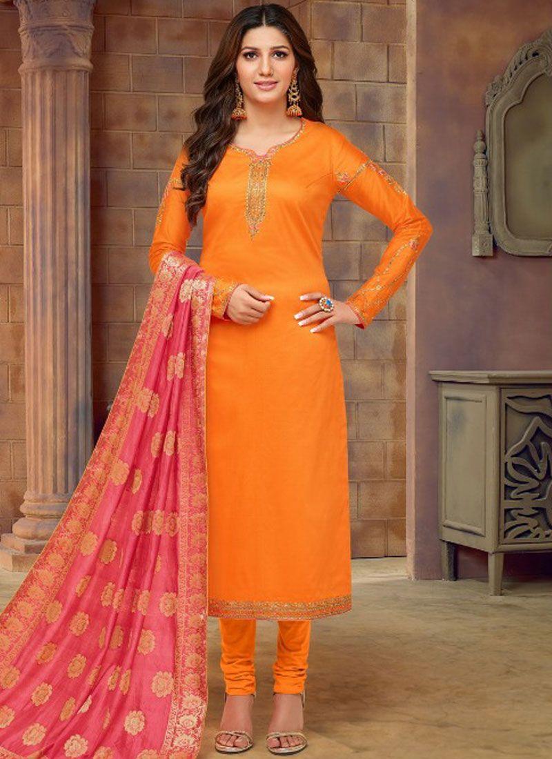 Orange Cotton Silk Casual Churidar Designer Suit