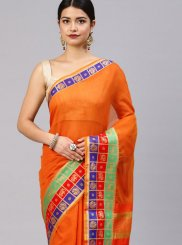 Orange Cotton Silk Woven Traditional Saree