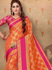Orange Cotton Trendy Saree