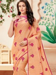 Orange Cotton Weaving Trendy Saree