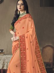 Orange Embroidered Art Silk Designer Saree