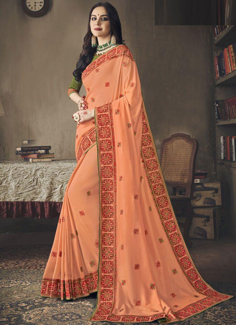 Orange Embroidered Art Silk Designer Saree