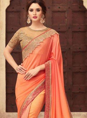 Orange Embroidered Art Silk Shaded Saree