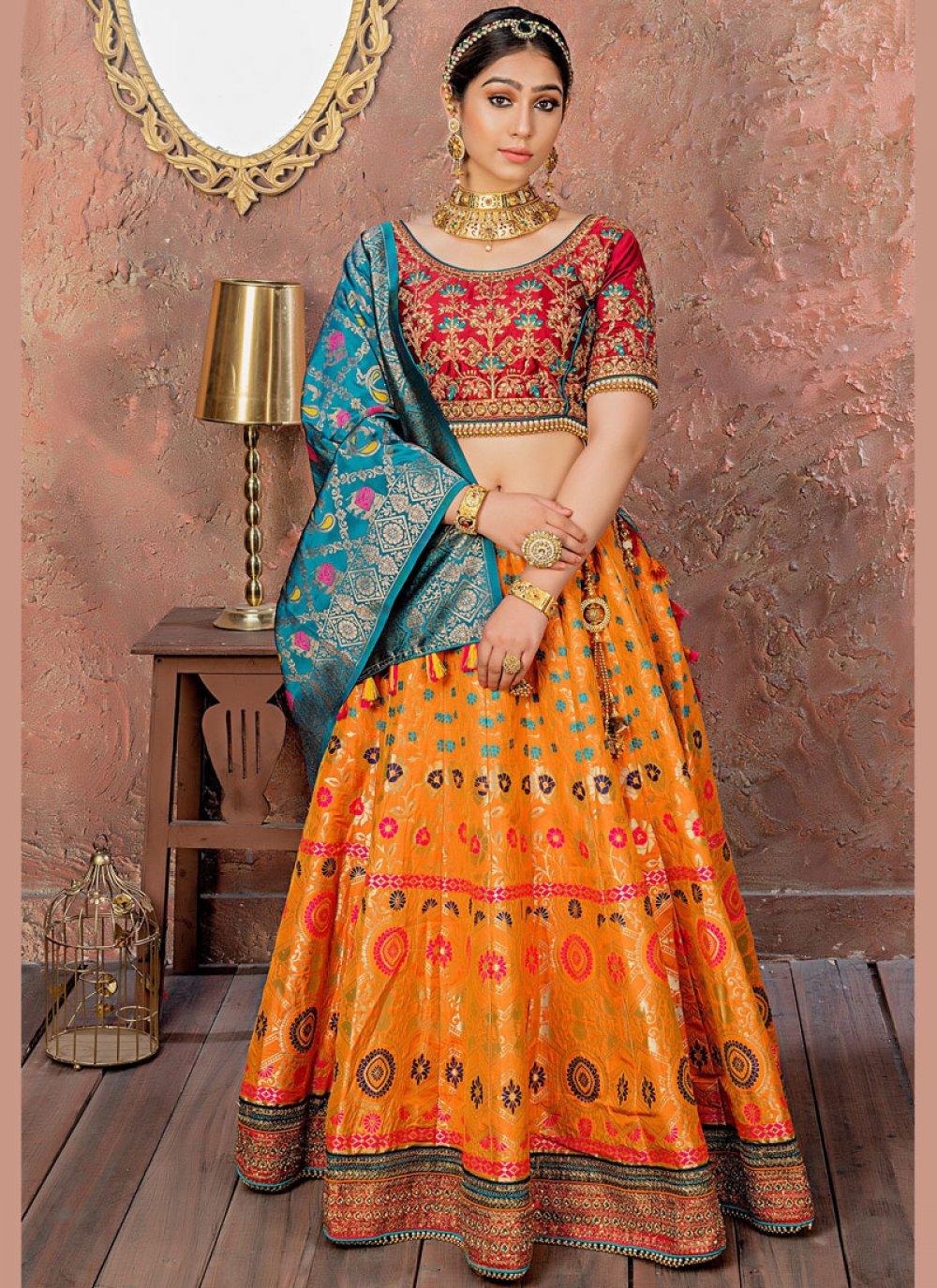 Orange Embroidered Banarasi Silk Designer Lehenga Choli