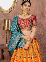 Orange Embroidered Banarasi Silk Designer Lehenga Choli