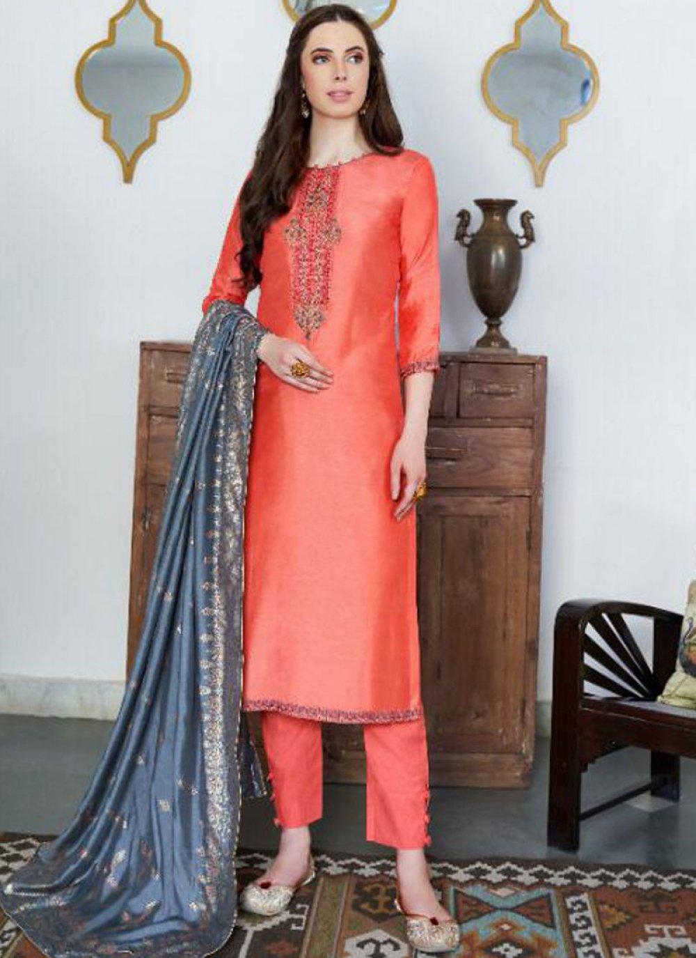 Orange Embroidered Ceremonial Designer Pakistani Suit