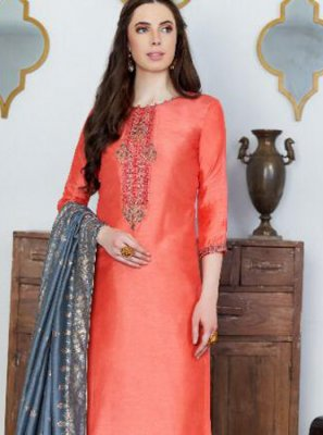 Orange Embroidered Ceremonial Designer Pakistani Suit