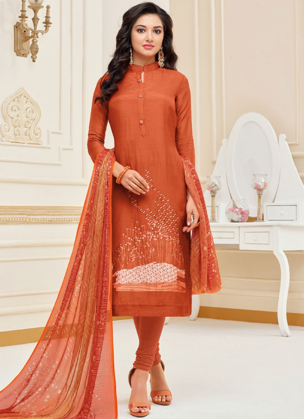 Orange Embroidered Chanderi Cotton Churidar Suit