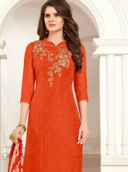 Orange Embroidered Churidar Suit