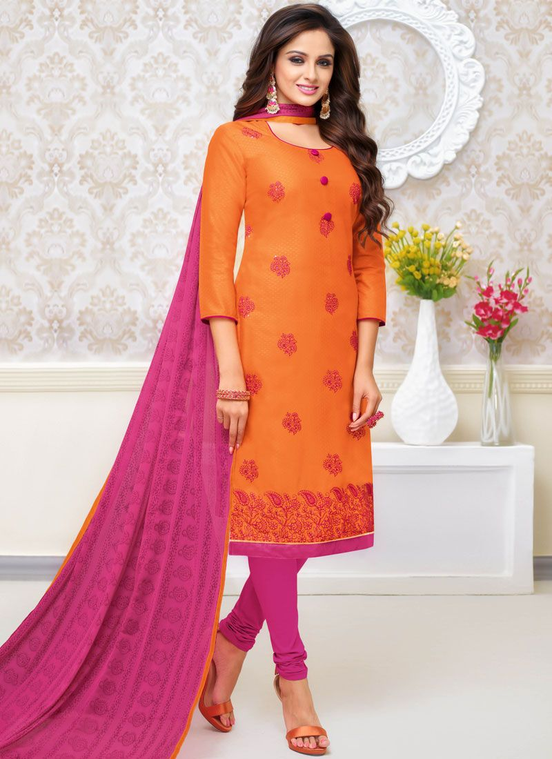 Orange Embroidered Cotton Salwar Kameez