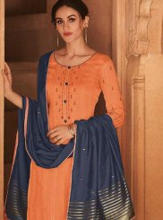 Orange Embroidered Cotton Silk Designer Pakistani Suit