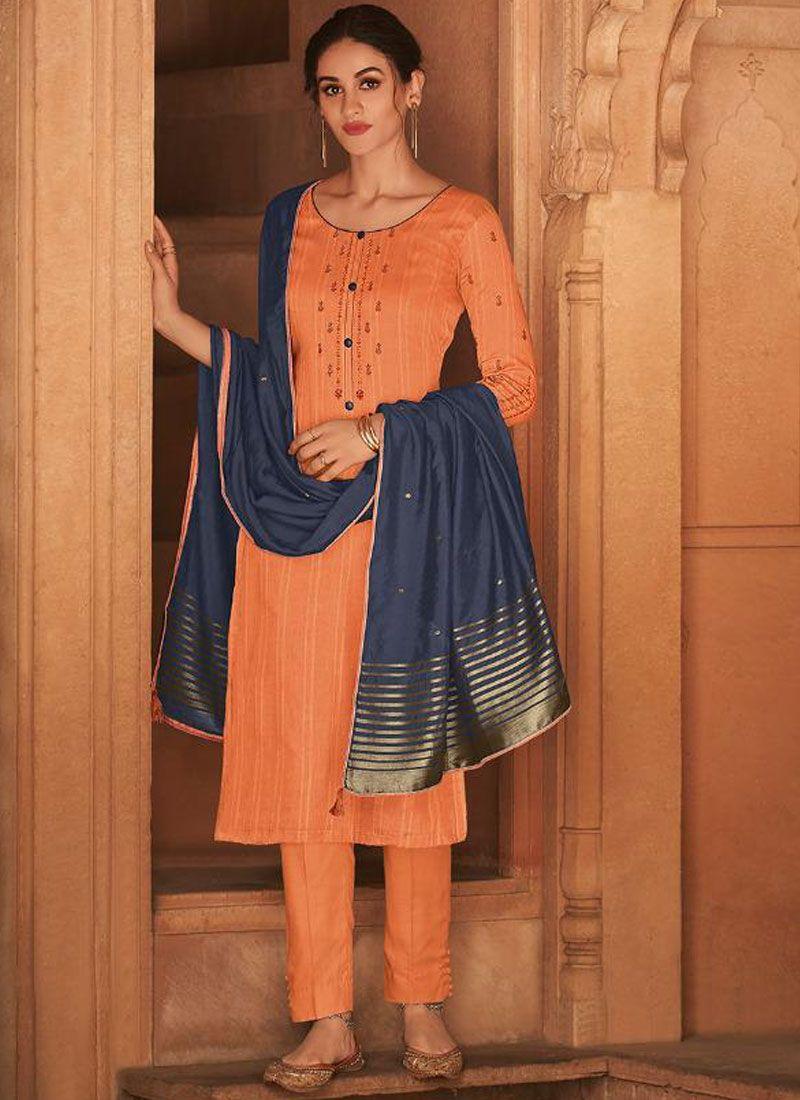 Orange Embroidered Cotton Silk Designer Pakistani Suit