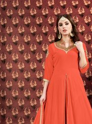 Orange Embroidered Designer Floor Length Suit