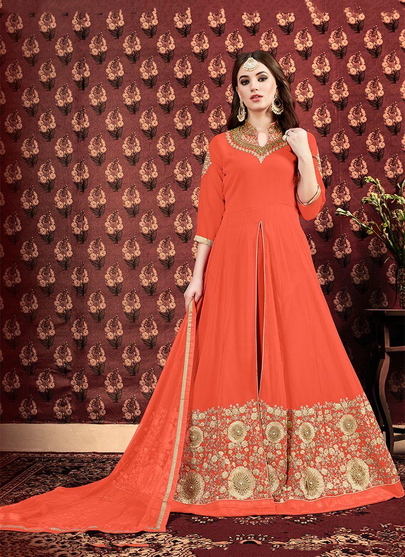 Orange Embroidered Designer Floor Length Suit