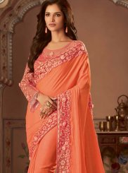 Orange Embroidered Designer Traditional Saree