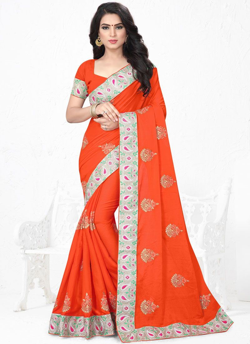 Orange Embroidered Faux Chiffon Classic Saree