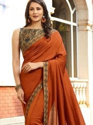 Orange Embroidered Faux Georgette Classic Designer Saree