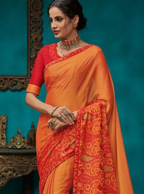 Orange Embroidered Festival Traditional Designer Saree
