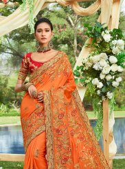 Orange Embroidered Georgette Satin Classic Saree