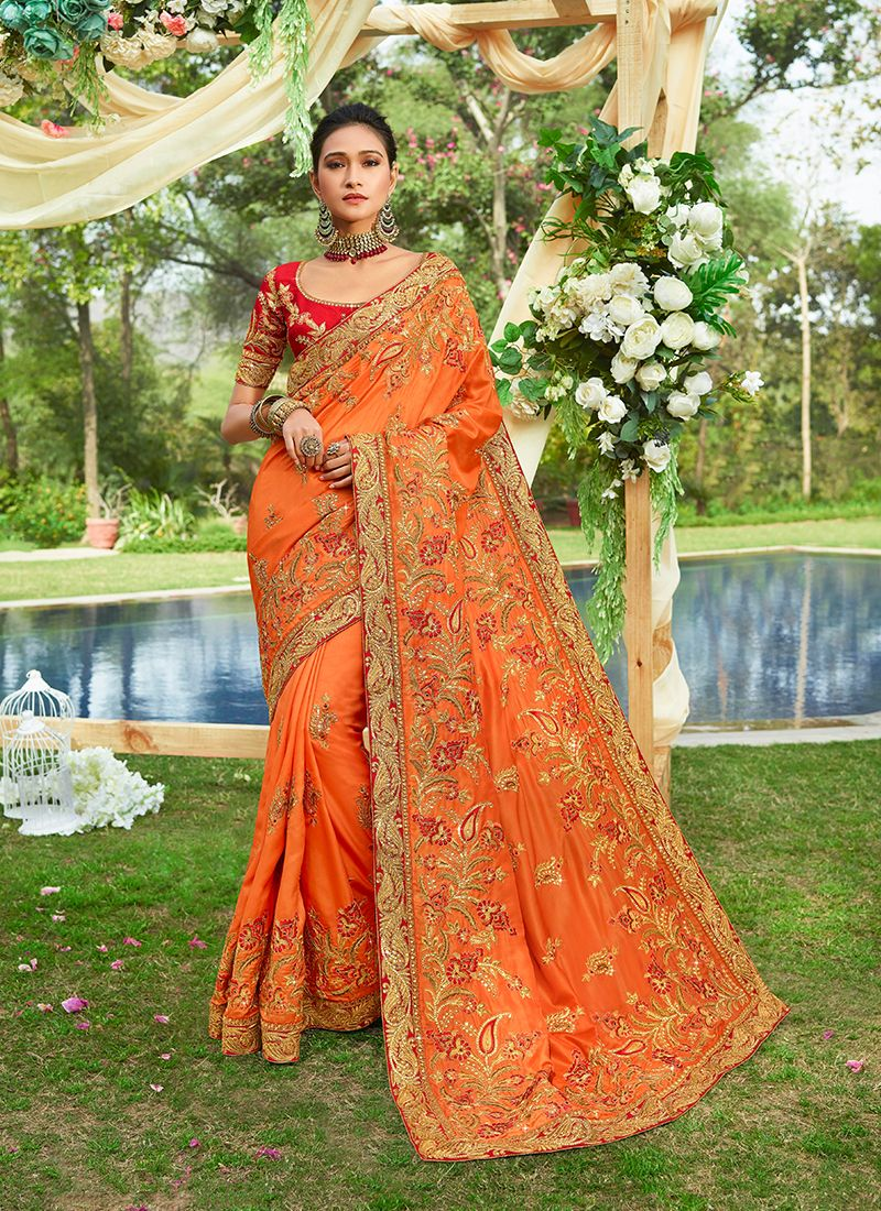 Orange Embroidered Georgette Satin Classic Saree