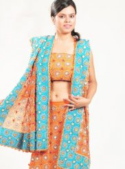 Orange Embroidered Lehenga Choli