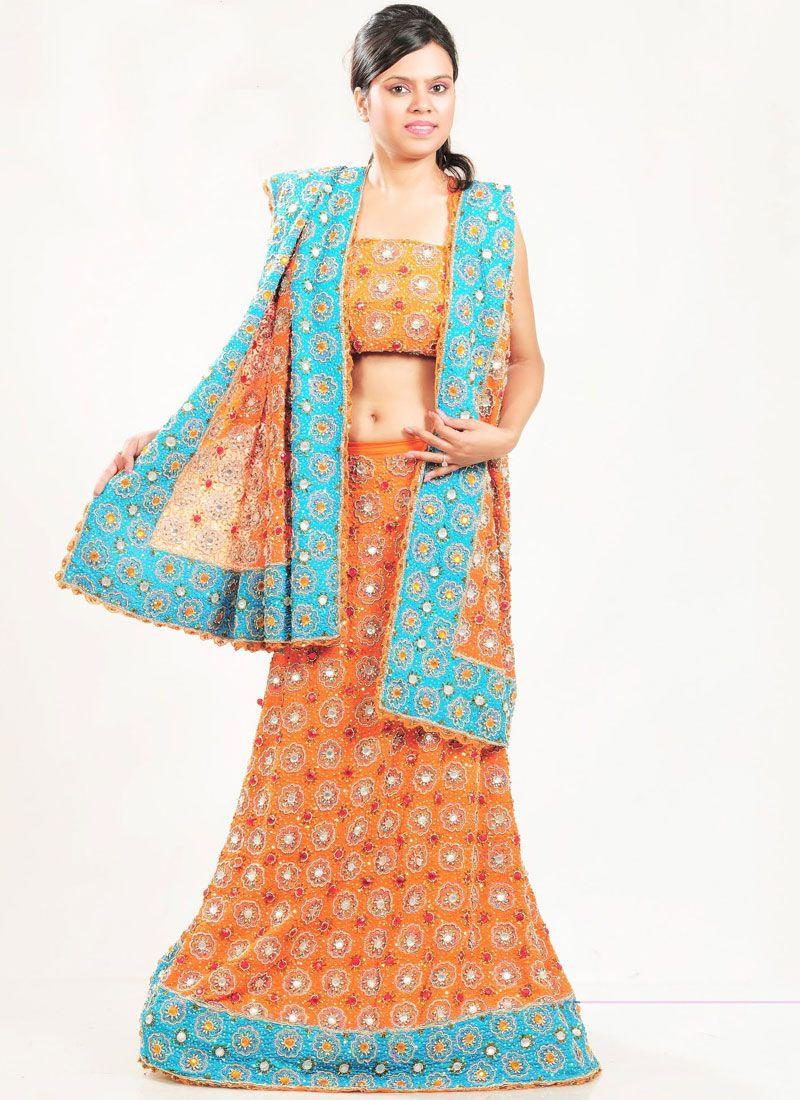 Orange Embroidered Lehenga Choli
