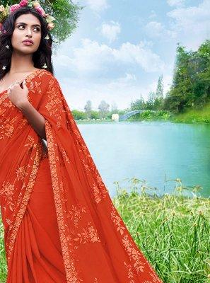 Orange Embroidered Mehndi Casual Saree