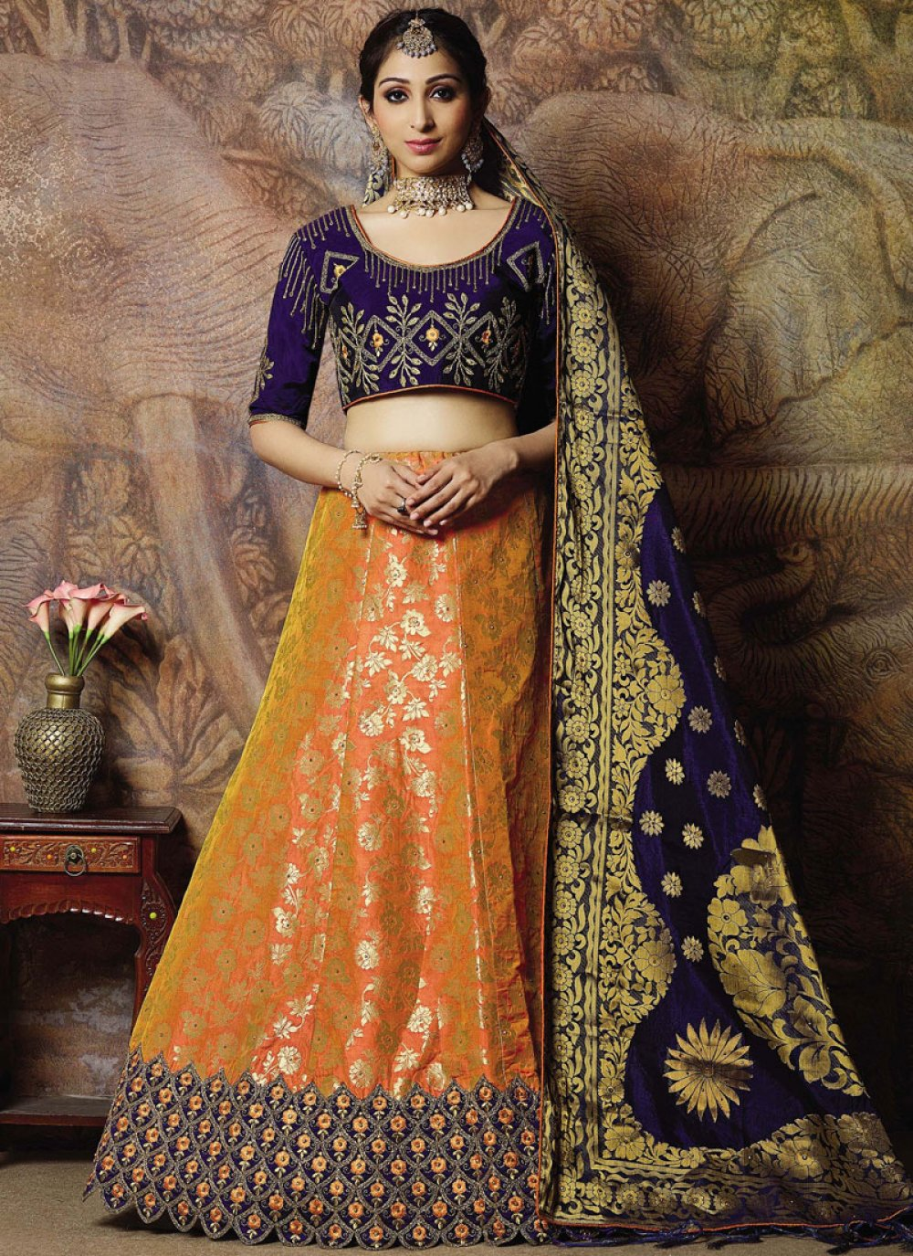 Orange Embroidered Mehndi Designer Lehenga Choli