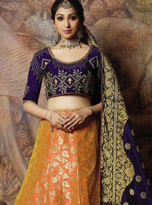 Orange Embroidered Mehndi Designer Lehenga Choli