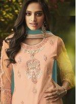 Orange Embroidered Net Designer Palazzo Salwar Suit